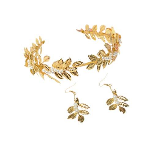 Minkissy - Tiara de brillantes para boda, cinta para la cabeza con perla con forma de gota, pendientes, boda, baile, fiesta de cumpleaños, regalo dorado
