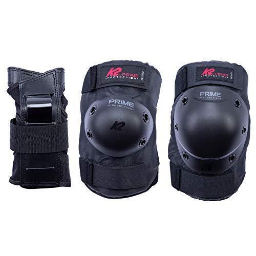 K2 Prime Pad Set M Juego de Almohadillas, Hombre, Negro-Rojo, L (Knee: A:42-46cm B:37-40cm / Elbow: A:28-31cm B:27-30cm / Wrist: A:23-25cm B:20-22cm)
