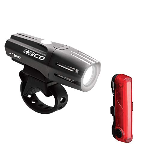 CECO-USA: 1000 Lumen Headlight & 80 Lumen COB LED Tail Light for Cyclists who Want to See far & to be seen from Super Wide Angle. Brightest USB Rechargeable Bike Light Set Available for All Cyclists