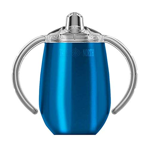 True North Stainless Steel Insulated Sippy Cup for Toddler + Baby with No-Spill BPA Free Triton Lid, Keeps Drinks Cold for 24 Hours, 9 oz, Jewel Blue