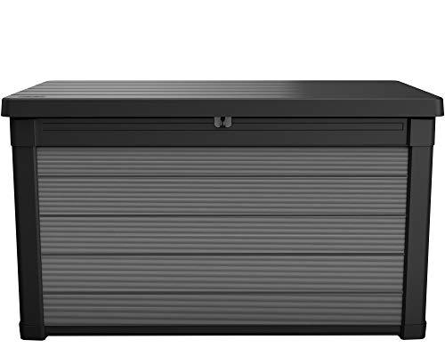 Ondis24 Keter Kissenbox Premier Box, Sitztruhe, XL Gartenbox, Outdoor Auflagenbox, Kissentruhe Garten, Sitzbank, regensicher (380 Liter)