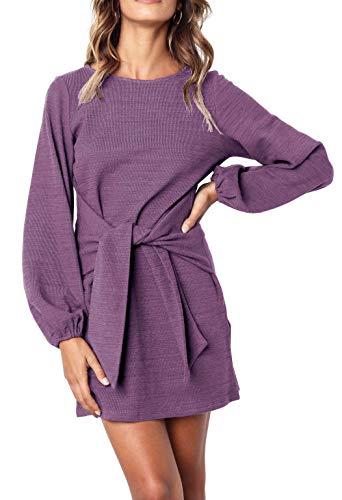 R.Vivimos Women's Autumn Winter Cotton Long Sleeves Elegant Knitted Bodycon Tie Waist Sweater Pencil Dress (Medium, Purple)