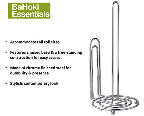 BaHoki Essentials Metal Paper Towel Holder for Contemporary Kitchen - Accommodates All Roll Sizes (Chrome with Anti-Slip Base)