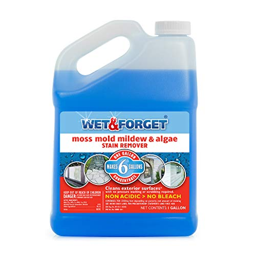 Wet and Forget Moss, Mold, Mildew & Algae Stain Remover, 1 Gallon Concentrate Make 6 Gallons