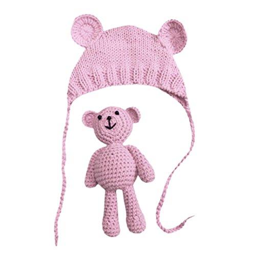 Vovotrade Conjunto Bebé Recién Nacido Fotografía Prop Foto Crochet Oso del traje del traje + Sombrero, 0-9 meses (Rosa)