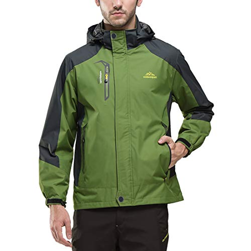 JOGERBRO Mens Waterproof Rain Jacket with Hood Hiking Fishing Windproof Raincoat