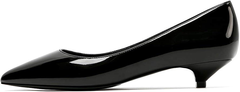 Soulength Women's Kitten Heels Stilettos 3CM Point Toes Patent Leather Ladies Pumps Non Slip Rubber Sole Sexy Elegant Comfortable Single shoes 3.5-8UK