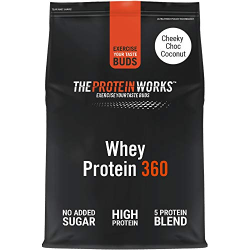 THE PROTEIN WORKS Whey Protein 360 Powder | High Protein Shake | No Added Sugar and Low Fat | Protein Blend | Cheeky Choc Coconut | 600 g