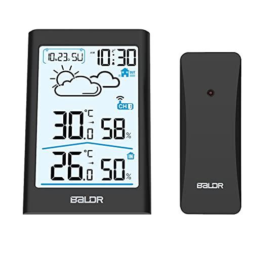 TEKFUN Wetterstation Funk mit Außensensor, Digital Thermometer Hygrometer Innen und Außen Raumthermometer Hydrometer Feuchtigkeit mit Wettervorhersage, Uhrzeitanzeige, Wecker und Nachtlicht (Schwarz)