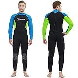 Traje de Neopreno para Hombre 3mm Neopreno Mantener Caliente Trajes de Surf Manga Larga con Cremallera Frontal Traje de Baño para esnórquel, Buceo, natación, Surf