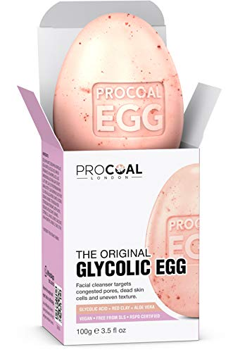 Glycolic Egg Facial Cleansing Soap 100g by Procoal - Glycolic Acid Cleanser For Rejuvenated, Bright and Glowy Complexion, Vegan & Cruelty-free