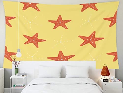 Tapices enormes, Tapiz de Pared Colgante para D & Eacute; Cor Sala de Estar Dormitorio Niños Patrón de Estrella de mar para niñas y niños Fondo Colorido El telón de Fondo Textil