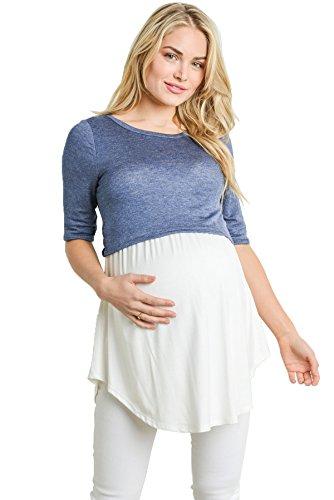 Hello MIZ Women's Empire Waist Babydoll Maternity Nursing Top (Denim Heather/Ivory, Medium)