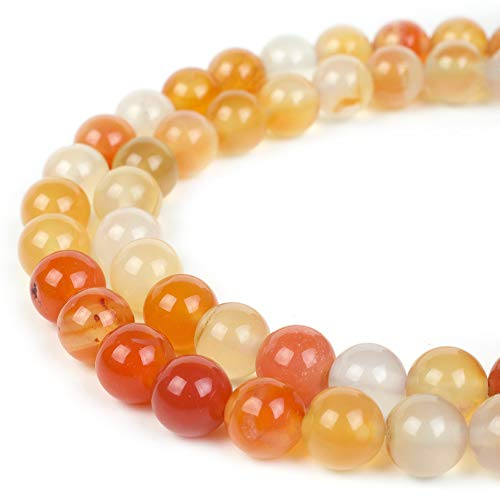 RVG 8mm Natural Carnelian Beads Round Gemstone Loose Stone Mala 15.5 in Strand for Jewelry Making (Approx 45-48 pcs)