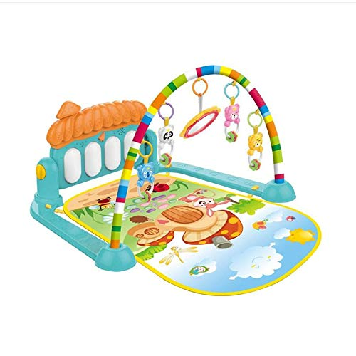 Kalavika Manta Gimnasio Piano Pataditas Musical Bebé, Alfombra de Juegos Gym para Bebé con Música Pedal Luces, Juguetes de Aprendizaje Intelectual Fitness Inteligente Bebé Casa Hongo (Verde)