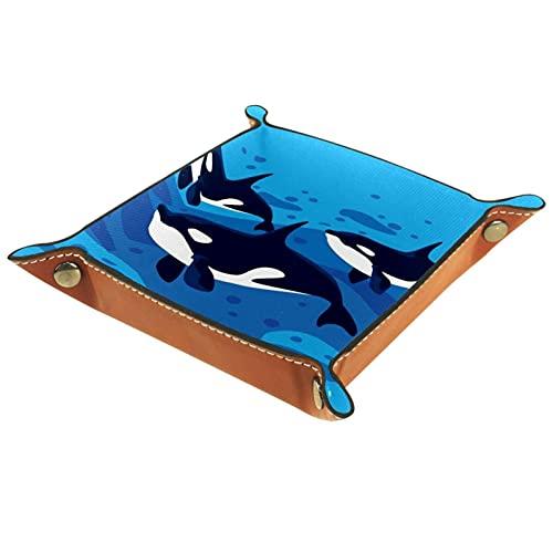 KAMEARI Bandeja de cuero con diseño de ballenas, caja de monedas de piel de vacuno, práctica caja de almacenamiento para carteras, relojes, llaves, monedas, teléfonos celulares y equipos de oficina