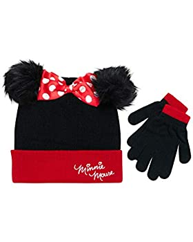 Disney Little Girls Minnie Mouse Character Hat and Glove Cold Weather Set Black Red Age 4-7
