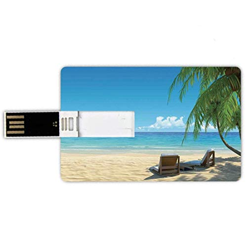 32G USB Flash Drives Forma de tarjeta de crédito Decoración tropical Memory Stick Estilo de tarjeta de banco Dos elegantes sillas de playa en la playa Sombra relajante de las palmeras Pluma a prueba d