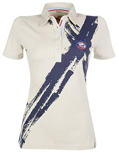 HKM 9681 Poloshirt County Summer, Polo Shirt Damen Mädchen Reitershirt, Sand/Navy, XS