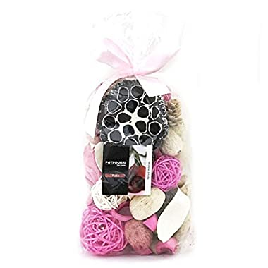 Qingbei Rina Pink Rose Scent Summer Potpourri Dried Flowers,Perfume Sachet, Decorative Bag and Gift - Rattan Balls,Lotus Pods, Pine Cones,Dried Plants and Flowers 9.9OZ