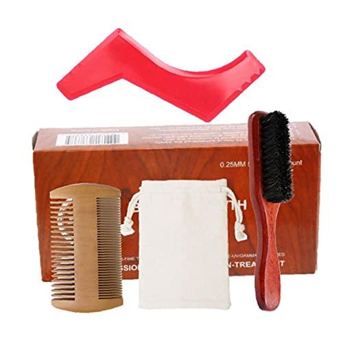 Hainice Kit para el Cuidado de la Barba Crecimiento de la Barba Kit de Recorte del Pelo y estética Conjunto Limpio Barba Peine Cepillo Estimular Crecimiento la Regla Shape Regalo para los Hombres