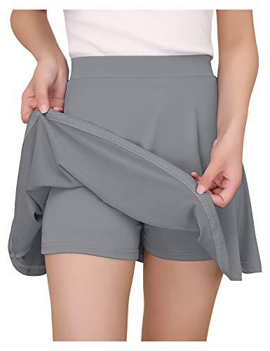 YOYAKER Falda Mujer Short Cortos Elástica Básica Patinador Multifuncional con Pantalones Cortos Silver Grey L