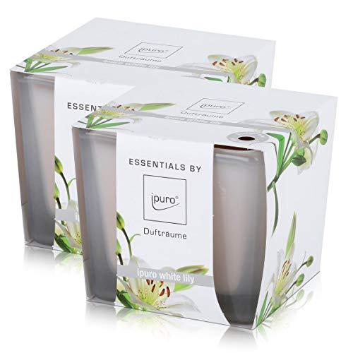 Essentials by Ipuro Duftkerze white lily 125g - Der reine Duft der weißen Blüte – ein blumig zartes Dufterlebnis (2er Pack)