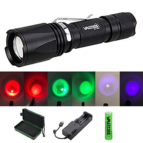 VASTFIRE Zoomable Green/Red/UV Hunting Flashlight Deer Blood Tracker Light Red Night Vision Flashlight Green Search Lights Hunter Flashlights for Hog, Predator, Coyotes, Deer Night Hunting