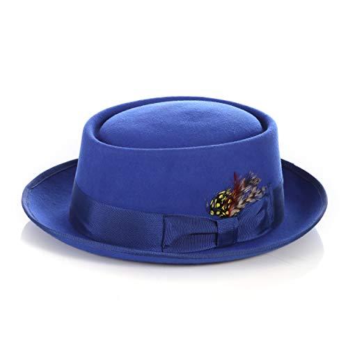 Ferrecci Royal Blue Wool Felt Porkpie Hat with Grosgrain Ribbon and Removable Feather - Unisex, Men, Women (Medium)