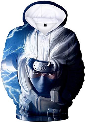 PANOZON Hombre Sudadera con Capucha Figura Impresa de Naruto Mangas Largas (XXS, A Pelo Plateado-1)