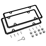 License plate frame (a pair) provides added protection and creates a nice-looking border; ideal for a car, truck, or trailer 4-hole style frame designed for vehicles with a 4-hole configuration Made of durable stainless steel with a sleek black finis...