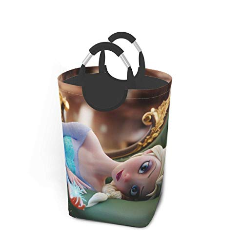 wupinpai Elsa Dirty Clothes Pack Waterproof Ox Fabric Foldable Laundry Hamper with Handle 50L