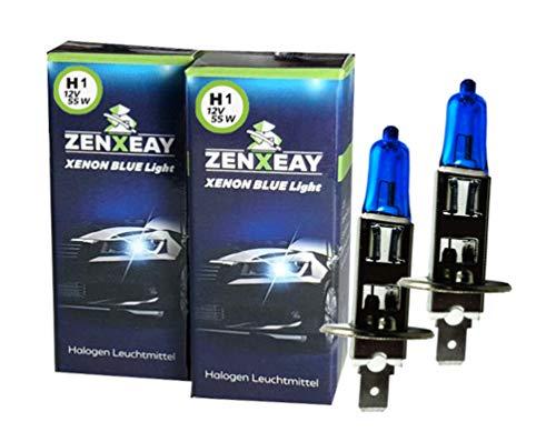 H1 Xenon Optik Lampe, Halogen Leuchtmittel Set, 12V 55W, Super White Birne, 2 Stück, für diverse Fahrzeuge