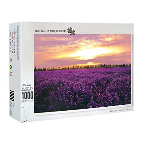 lijun 1000 Pezzi Puzzle di Fiori di Lavanda Puzzle di Legno Puzzle da Pavimento in Legno