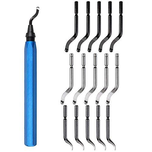 Ouneed - Entgratwerkzeug Entgrater Werkzeug Universal, Handentgrater mit 15 Stück Ersatzklingen, 360 ° Rotierender Klinge Schneidwerkzeug für 3D Drucker, Kunststoff, Aluminium und Edelstahl