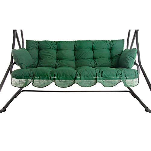 PATIO Auflagen Set Bora für Hollywoodschaukel Polsterauflage Sitzkissen Rückenkissen Seitenkissen Gesteppt D001-32PB 170 cm (dunkel grün)