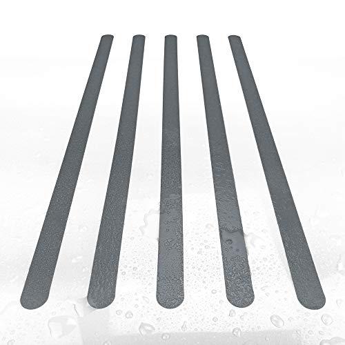 Anti-Rutsch Streifen 3x64 cm, farbig für Dusche, Badewanne, Whirpool, 8 Stück (grau)