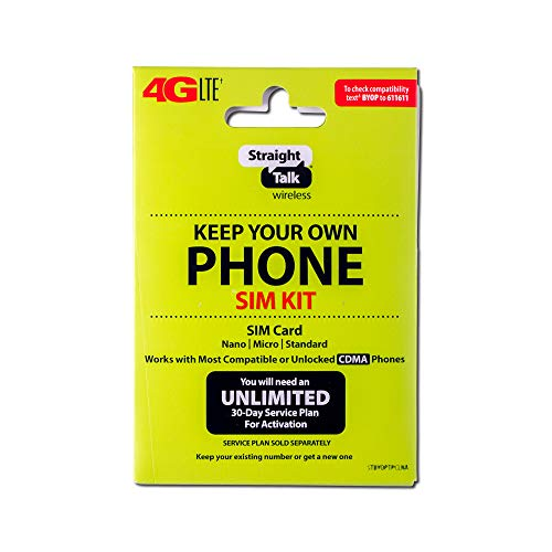 Straight Talk 4G LTE 'Keep Your Own Phone SIM Kit' SIM Card (Verizon, Sprint, CDMA-Compatible)
