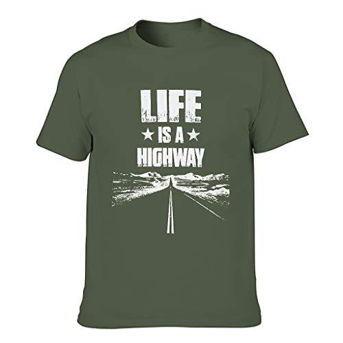 Camiseta de tirantes para hombre con diseño gráfico vintage Life ist ein Highway, estilo informal verde militar L