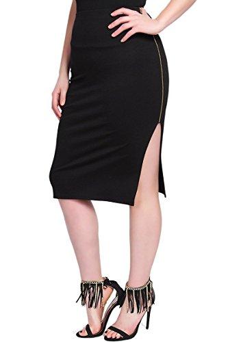 TheMogan Women's Side Zipper Curve Hugging Midi Pencil Skirts Black 3XL