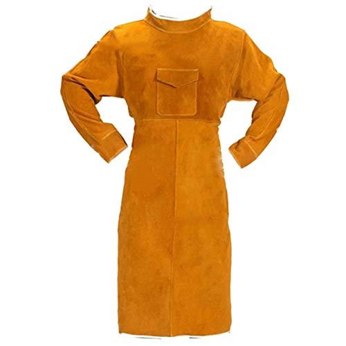 Delantal de soldadura de 120 cm ignífugo de manga larga soldador ropa protectora de cuero...