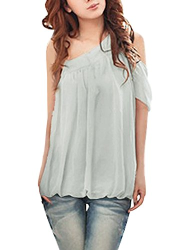 Allegra K Women Cut Out One Shoulder Semi Sheer Chiffon Top Pale Grey L