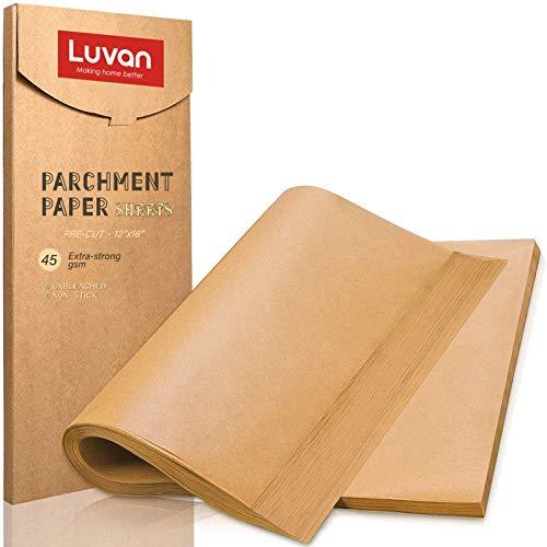 Luvan 200 hojas de papel de pergamino para hornear, cocinar, asar, freidora de aire y cocinar al vapor, sin blanquear, apto para sartenes de gelatina y hornear
