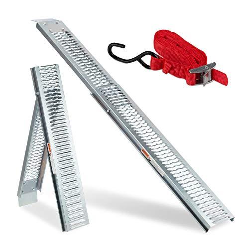 Relaxdays Auffahrrampe für Anhänger & PKW, klappbar, Motorrad verladen, Rampe, Stahl, Traglast: 225 kg, 2m lang, silber