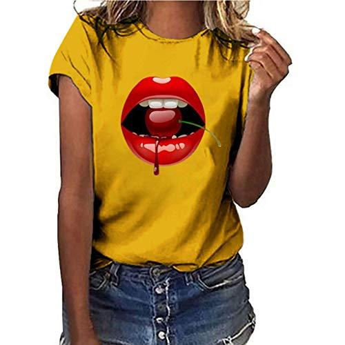 Luckycat Camisetas Mujer Manga Corta Verano t Shirt Mujer Blanca Negro Camisetas de Mujer Camiseta Mujer Casual Top tee Mujer Camiseta Tallas Grandes Slim Fit Camisas Mujer Blusas Labios sensuales