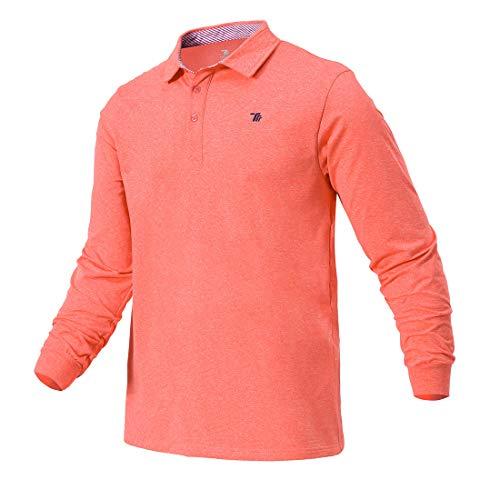 donhobo Herren Premium Poloshirts Basic Langarm Polohemd Einfarbig Stretch Polo Kragen Fleecefutter Pullover Freizeit Golf Tennis T-Shirt Orange L