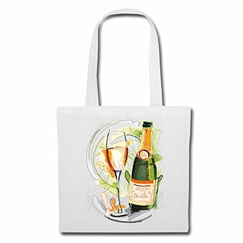 Tasche Umhängetasche WEINFLASCHE WEIßWEIN Rotwein WEINGLAS Vintage Silvester JUBILÄUM Champagne Bier Wodka Schnaps Wein Alkohol Rotwein WEIßWEIN LIKÖR Einkaufstasche Schulbeutel Turnbeutel in Weiß