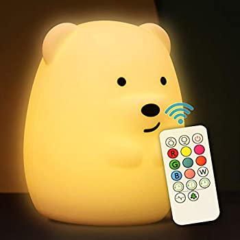Gifunes Soft Silicone Baby Nursery Night Light with Remote Control