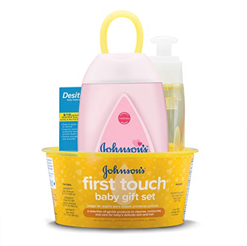 Johnson's Baby First Touch Gift Set, Baby Bath, Skin, and Hair Essentials for New Parents, 5 Items