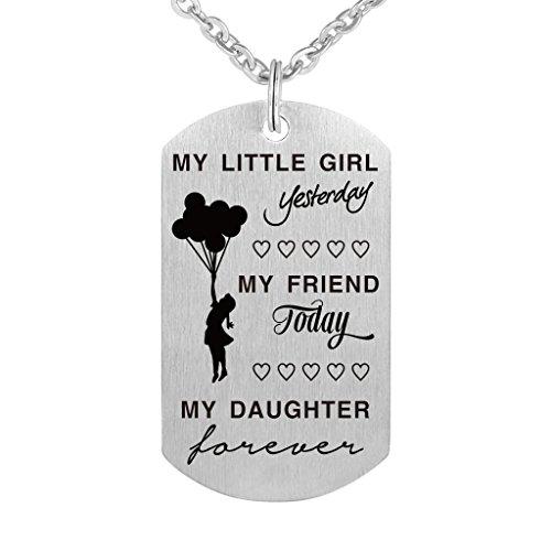 Freedom Love Gift Pendentif My Little Girl Hier, Mon Ami Aujourd'hui, MA Fille Forever Collier en Acier Inoxydable